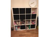 IKEA Kallax - 4 x 4 Shelving Unit - High Gloss White - Good Condition