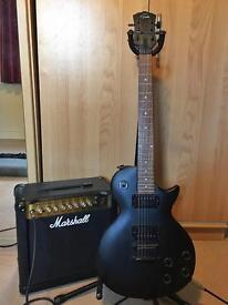 Gould black guitar electric with Marshall amplifier