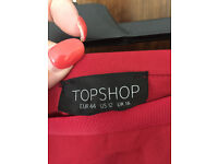Topshop Red Midi Skirt