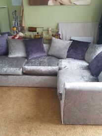 Silver corner sofa