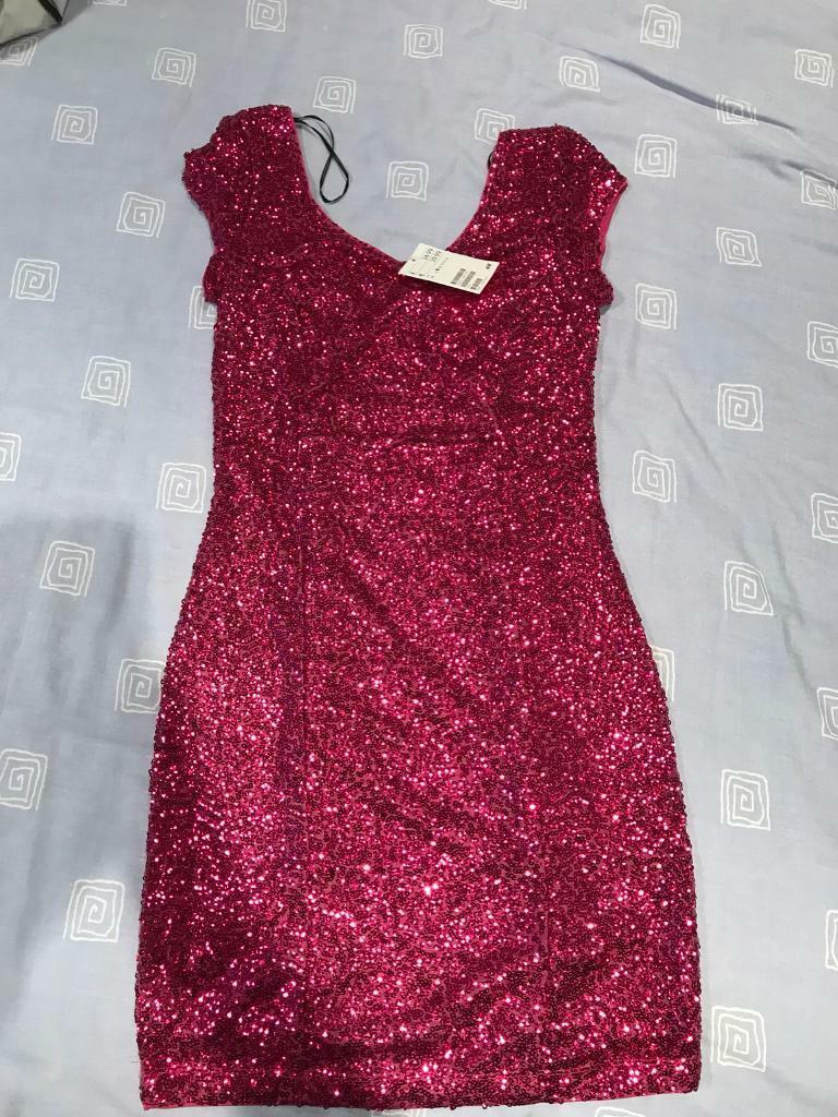 Pink sequin party dress size 8