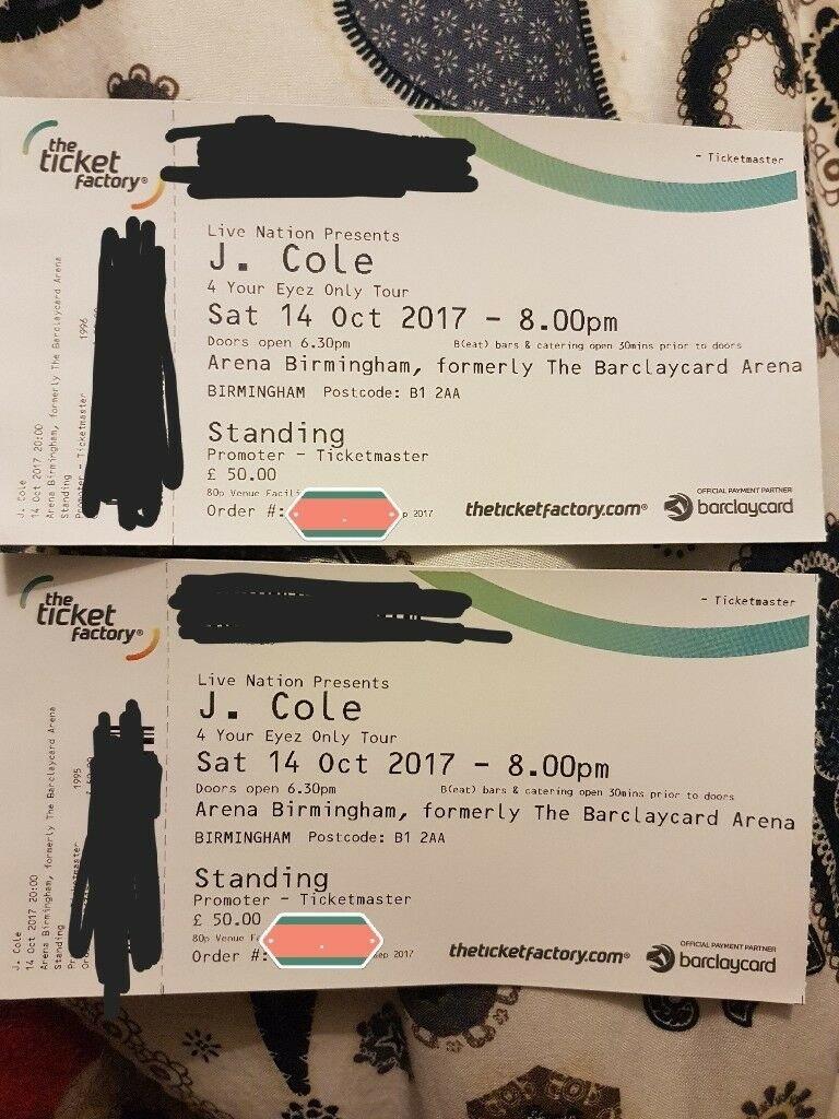 2 x j cole standing ticket Birmingham 14 oct saturday