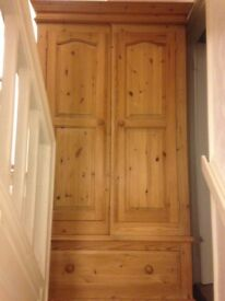 Antique pine wardrobe and drawers