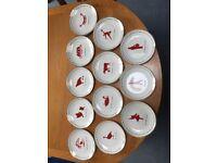 "John Lewis Xmas 8 "" plates Twelve Days of Christmas "" 8"" (20.2cms) serving Plates"