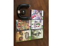 Xbox games and racing wheel