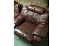 Large brown leather sofa and arm chair