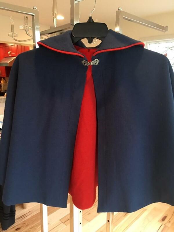 NEW! AUTHENTIC NORWEGIAN Reversable BUNAD CAPE BLUE & FLAG RED From NORWAY