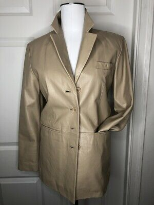 VTG. TOMMY HILFIGER Women's Leather Blazer Jacket, Beige, Made In Italy, Size 6