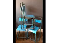 Vintage Blue Metal Stacking Chairs x 5
