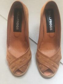 Barely worn russet suede wedge shoes