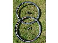 Two bike wheels with New tyres- Continental 4000 II 700/28 (BRAND NEW TYRES)