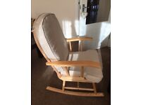Mothercare natural rocking chair with beige cushions