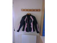 Ladies size 12 motorbike jacket and matching gloves