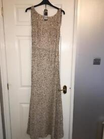 Stunning Debut Gold Sequin Long Evening/Occassion Dress Size 10