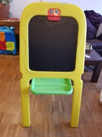 double sided easel for chalk and pen, plus large clips to hang paper