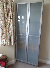 Tall Frosted Glass fronted cabinet with 5 shelves and DVD compartment