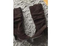 Brown suede new look boots size 5