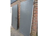 2 pairs matching wooden wood ledge & brace garage doors - Each door 840 X 1970 approx. Used GC