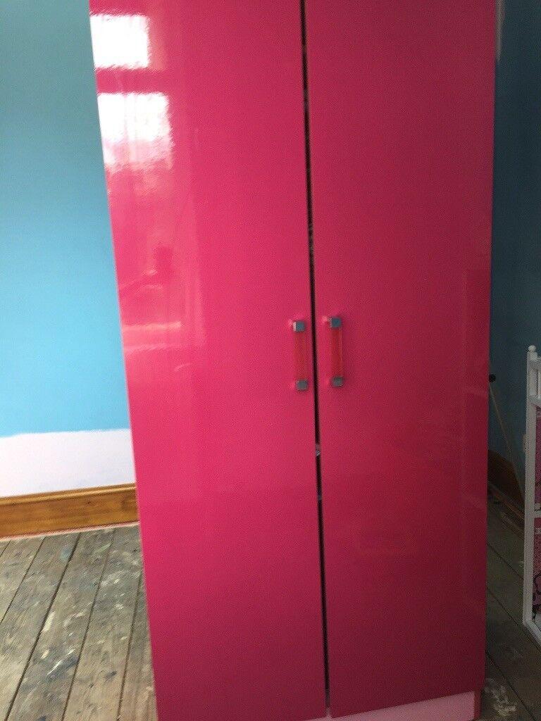 High gloss pink wardrobe