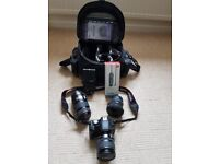 Canon DSLR camera, 3 zoom lenses, flash gun, timer release and Canon bag for sale