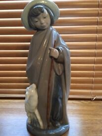 Nao by Lladro, extremely rare Shepherd girl with staff and Lamb