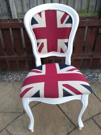 Shabby Chic Louis Chair ( White ) with quality woven( Union Jack Material )