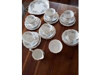 ROYAL ALBERT 'SILVER MAPLE' BONE CHINA 20 PIECE TEA SET. EXC. COND.