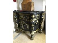 French / Ornate / Rococo Bedside Table - French Table & Draw And Cabinet - Black & Gold - Unusual