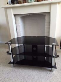 Black Glass TV Unit / Stand, excellent condition like new