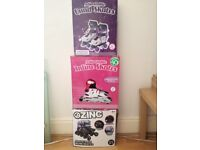 Girls quad skates and 2 pairs inline skates.