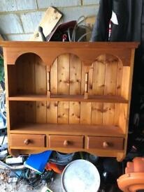 Kitchen shelf wall unit pine draws