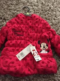 Girls Minnie Mouse coat, size 12-18months