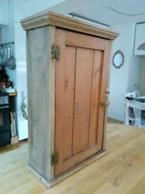 Antique pine wall cupboard storage