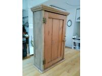 Antique pine wall cupboard storage