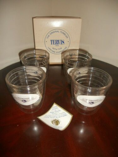 "Rare Vintage Eastern Airlines Silverliners Double Wall Lexan Resin 4.25"" Glasses"