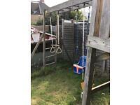 Kids climbing frame - 3 swings / castle / climbing net
