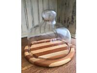 Wooden cheese board/plate with glass dome