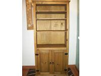 Corona Mexican Waxed Pine 2 Door 4 Shelf Bookcase Display Cabinet