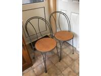 Pair Of Metal Framed Dining / Kitchen Chairs