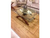 Solid wood coffee table with glass top