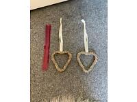 Silver bell hanging heart decoration