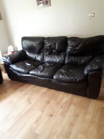 Real leather brown 3 seater settee