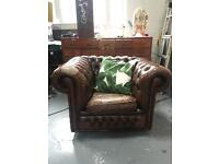 Well loved chesterfield leather tub / club chair