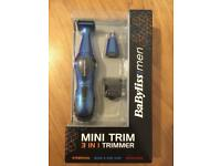 Babyliss for men, mini trimmer, 3 in 1 trimmer