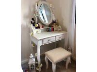White dressing table, mirror, stool