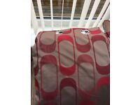 Natural and red patterned curtains