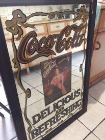 Very large vintage coca-cola mirror