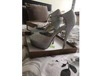 Size 7 silver sparkly satin shoes with T bar !!!