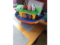 Noah's ark boat and animals