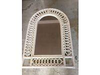 Mirror in White Cane Frame